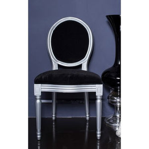 Louis  French Side Chair  Black Velvet - Blakes Discounts