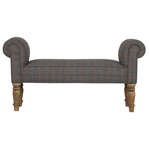 Black Tweed bench with Turned Feet - Blakes Discounts