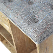 Load image into Gallery viewer, Multi Tweed 4 Slot Shoe Storage Bench