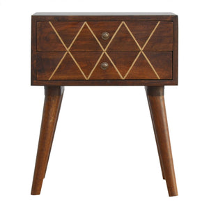 Artisan Geometric Brass Inlay Bedside table - Blakes Discounts