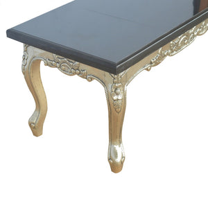 Carved Coffee Table with Black Marble Top - Blakes Discounts