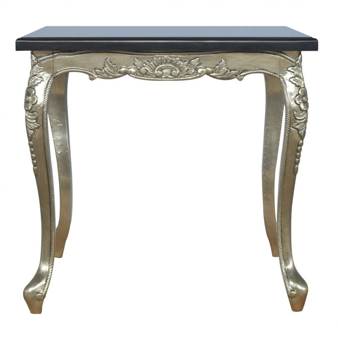 Hand Carved Dining Table with Black Marble Top - Blakes Discounts
