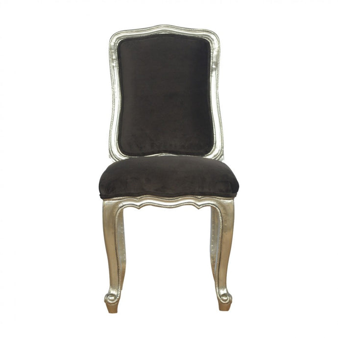 Sleek Brown Cotton Velvet Carved Dining Chair - Blakes Discounts