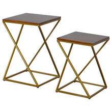 Load image into Gallery viewer, Set of 2 Chestnut Nesting Tables with Gold Base