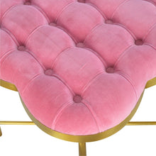 Load image into Gallery viewer, Pink Velvet Deep Button Footstool with Golden Base - Blakes Discounts
