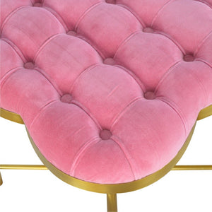 Pink Velvet Deep Button Footstool with Golden Base - Blakes Discounts