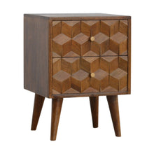 Load image into Gallery viewer, Chestnut Cube Carved Bedside