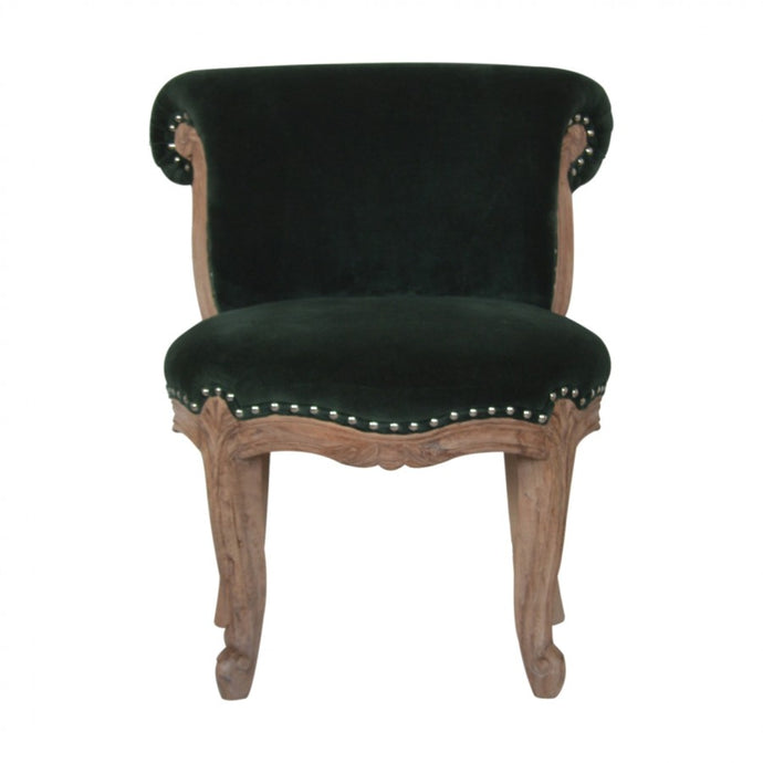 Emerald Green Velvet Studded Chair - Blakes Discounts