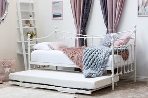 ORNATE VINTAGE WHITE METAL DAY BED WITH OPTIONAL GUEST TRUNDLE - SINGLE - Blakes Discounts