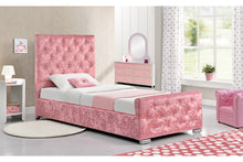 Load image into Gallery viewer, BEAUMONT CRUSHED PINK SINGLE BED - Blakes Discounts