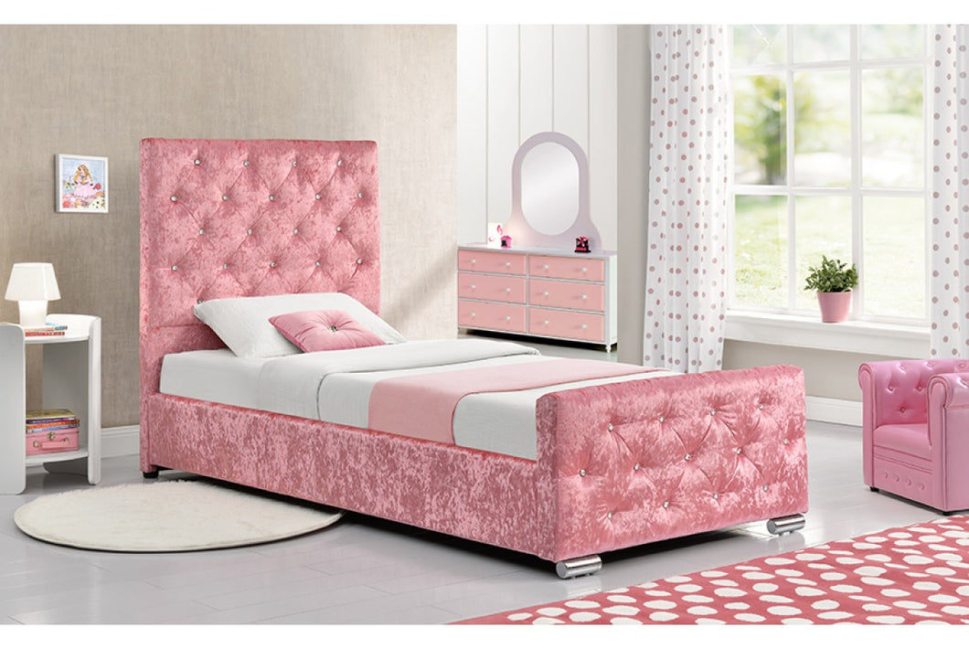 BEAUMONT CRUSHED PINK SINGLE BED - Blakes Discounts
