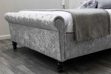 Load image into Gallery viewer, JAMES OTTOMAN SILVER CRUSHED DOUBLE BED - Blakes Discounts