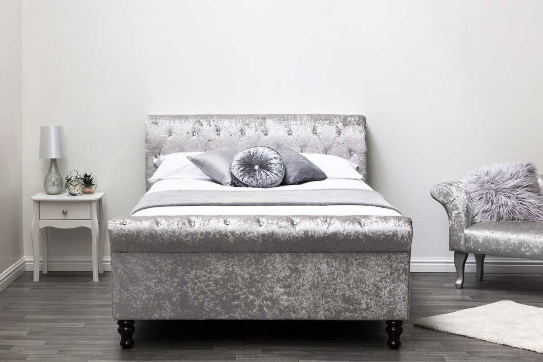 JAMES OTTOMAN SILVER CRUSHED DOUBLE BED - Blakes Discounts