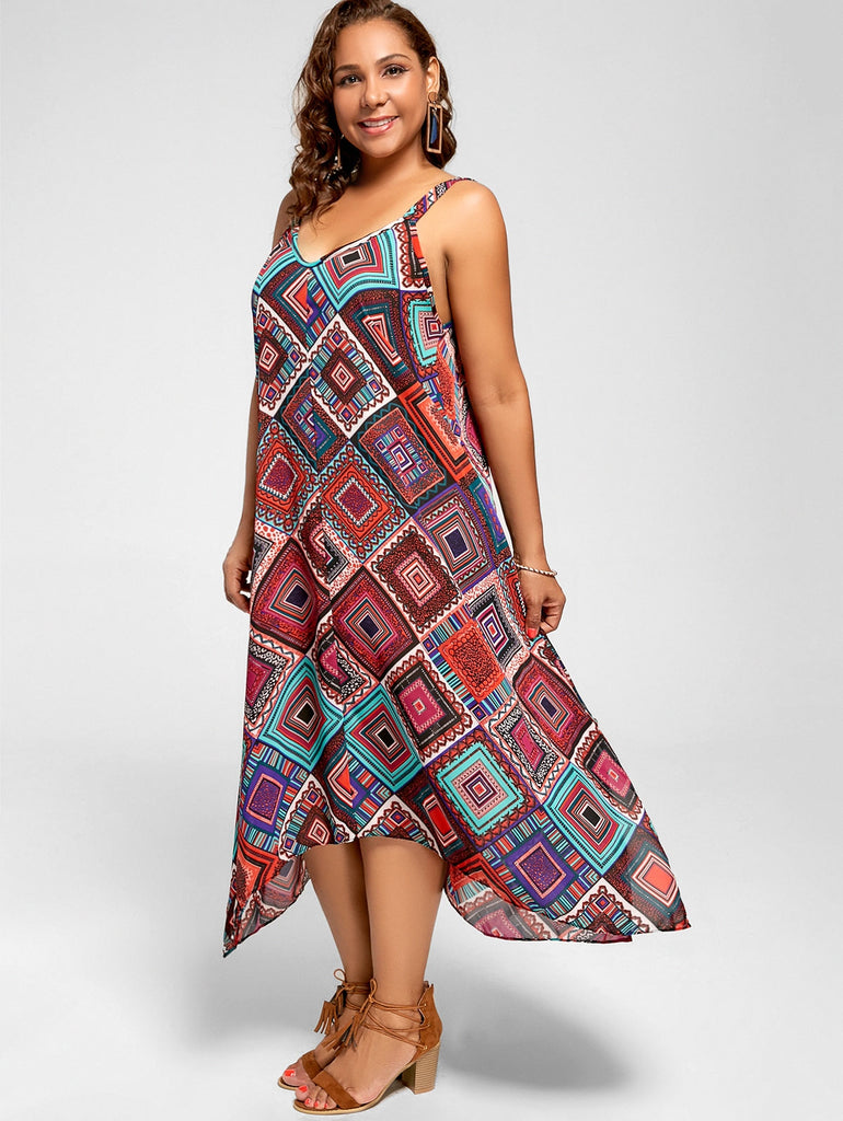 dfd492520a0 ... Plus Size Spaghetti Strap Geometric Print Handkerchief Dress ...