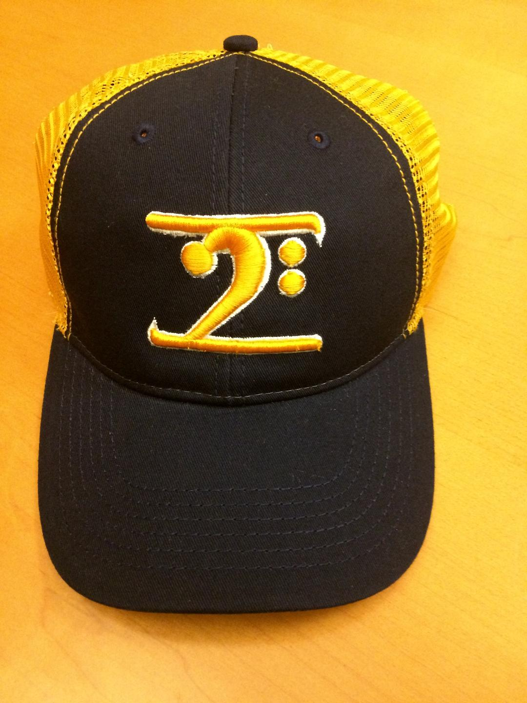 BLACK TRUCKER LOGO CAP - GOLD LOGO WHITE TRIM - Lathon Bass Wear