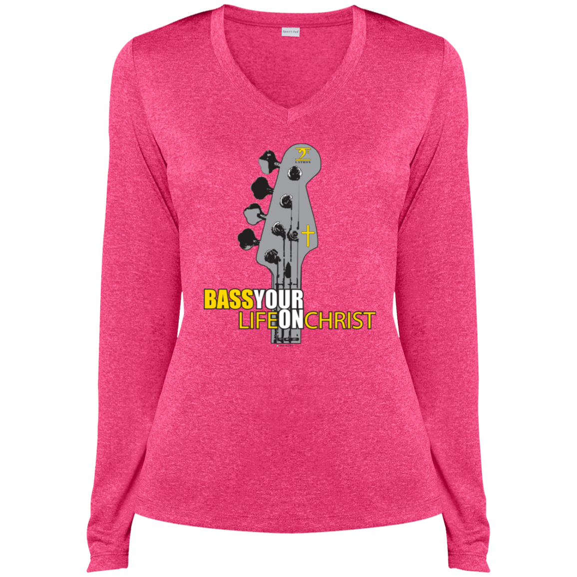 BASS YOUR LIFE ON CHRIST Ladies' LS Heather Dri-Fit V-Neck T-Shirt - Lathon Bass Wear