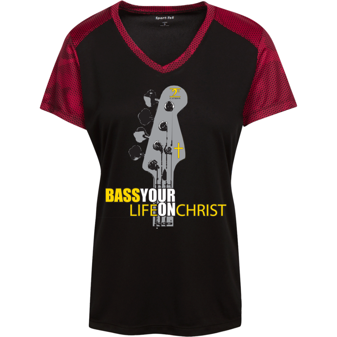 BASS YOUR LIFE ON CHRIST Ladies' CamoHex Colorblock T-Shirt - Lathon Bass Wear