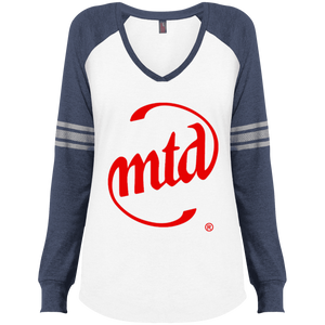 MTD RED LOGO Ladies' Game LS V-Neck T-Shirt