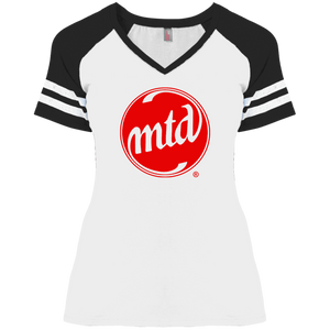 MTD RED FILLED LOGO Ladies' Game V-Neck T-Shirt