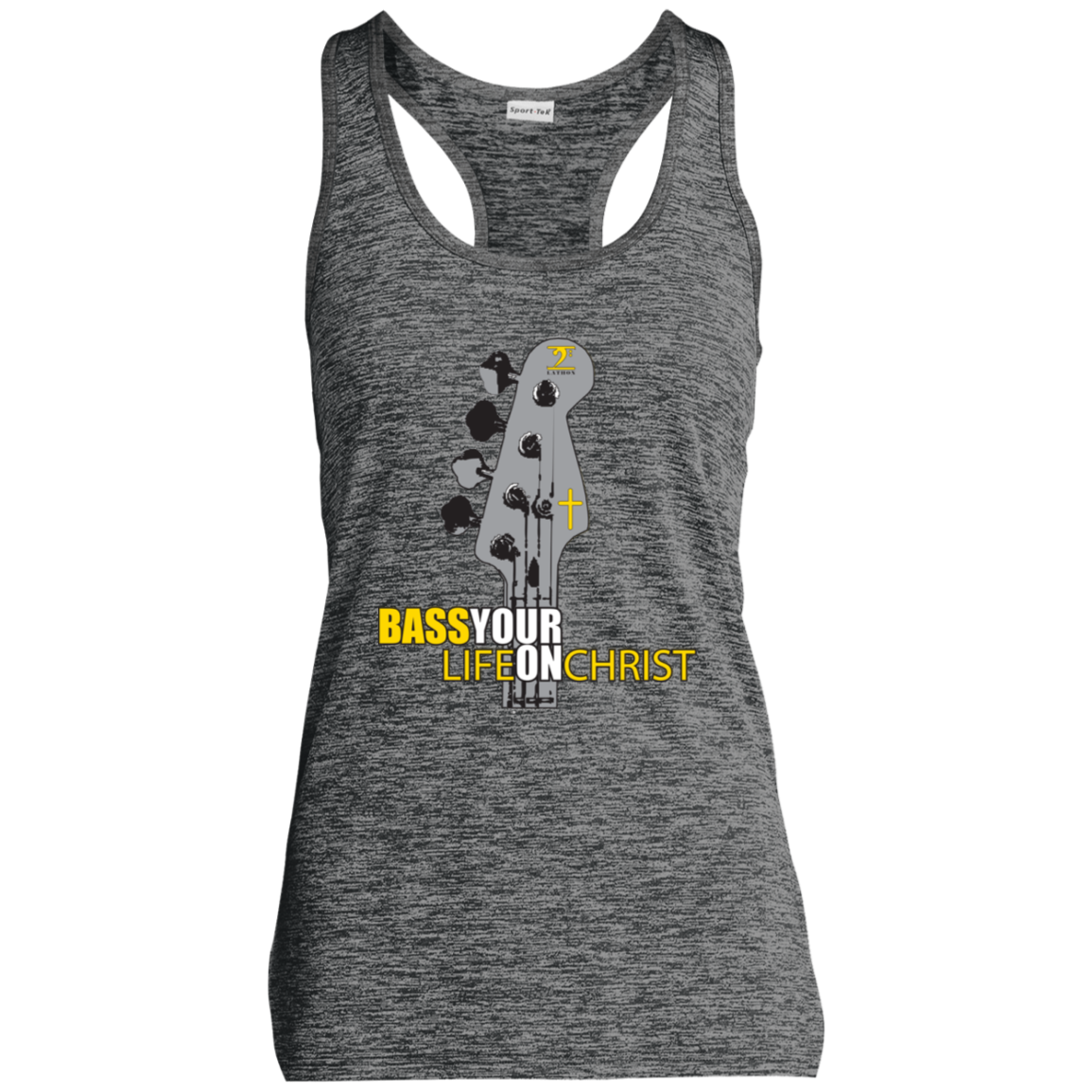 BASS YOUR LIFE ON CHRIST Moisture Wicking Electric Heather Racerback Tank - Lathon Bass Wear