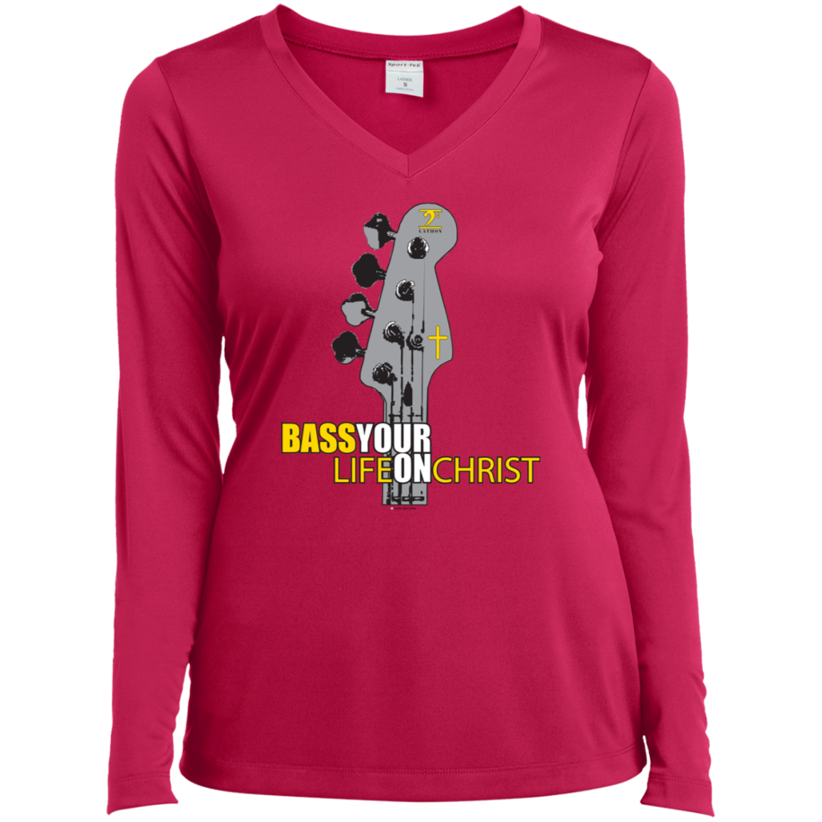 BASS YOUR LIFE ON CHRIST Ladies' LS Performance V-Neck T-Shirt - Lathon Bass Wear