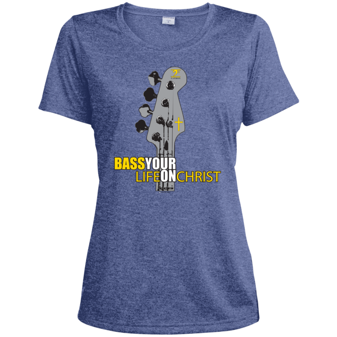 BASS YOUR LIFE ON CHRIST Ladies' Heather Dri-Fit Moisture-Wicking T-Shirt - Lathon Bass Wear