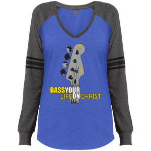 BASS YOUR LIFE ON CHRIST Ladies' Game LS V-Neck T-Shirt - Lathon Bass Wear