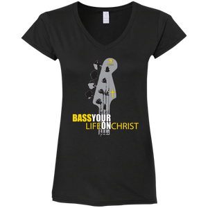 BASS YOUR LIFE ON CHRIST Ladies' Fitted Softstyle 4.5 oz V-Neck T-Shirt - Lathon Bass Wear