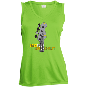 BASS YOUR LIFE ON CHRIST Ladies' Sleeveless Moisture Absorbing V-Neck - Lathon Bass Wear