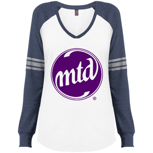 MTD PURPLE FILLED LOGO Ladies' Game LS V-Neck T-Shirt