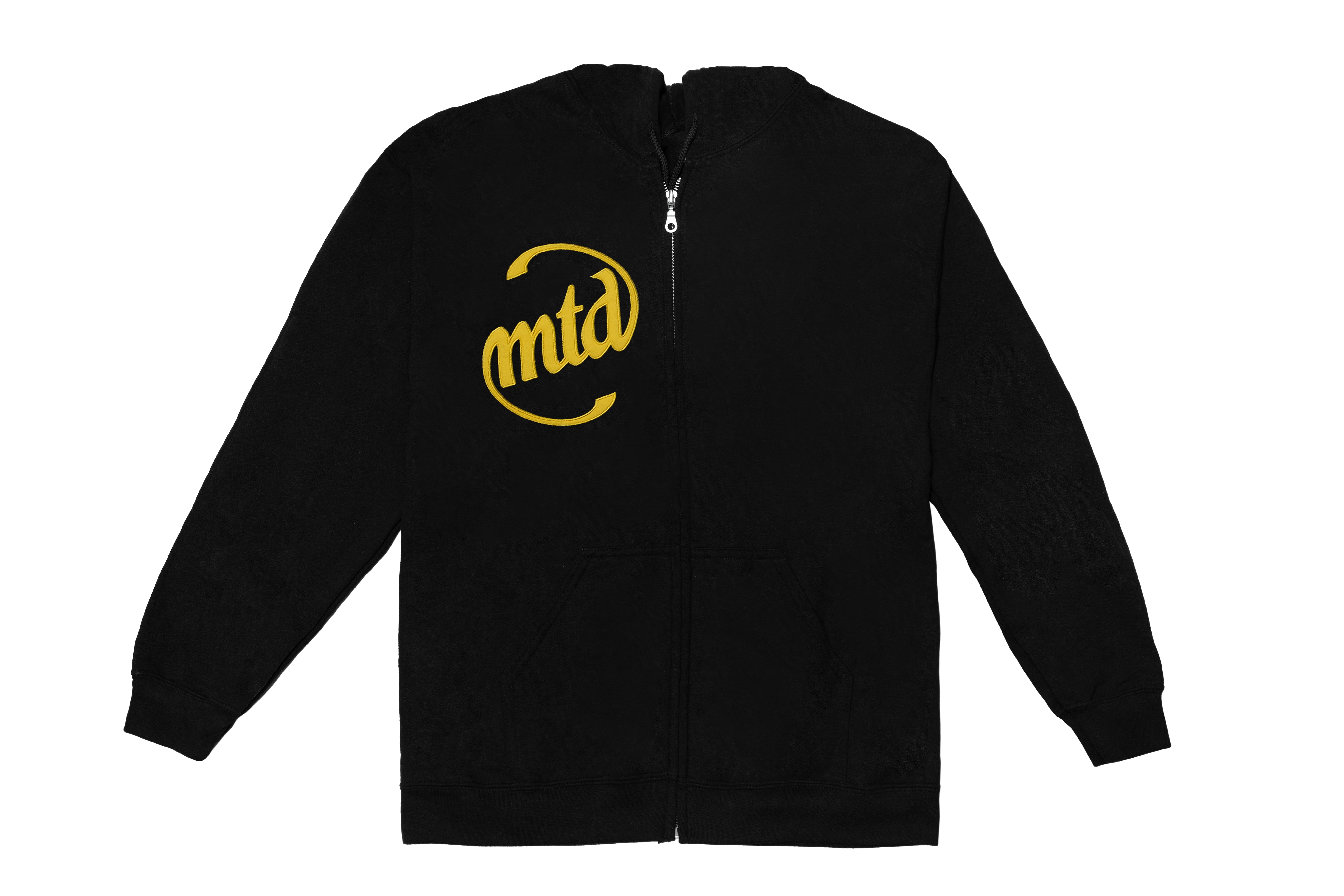 MTD BLACK ZIP - GOLD EMBROIDERED LOGO 1 HOODY