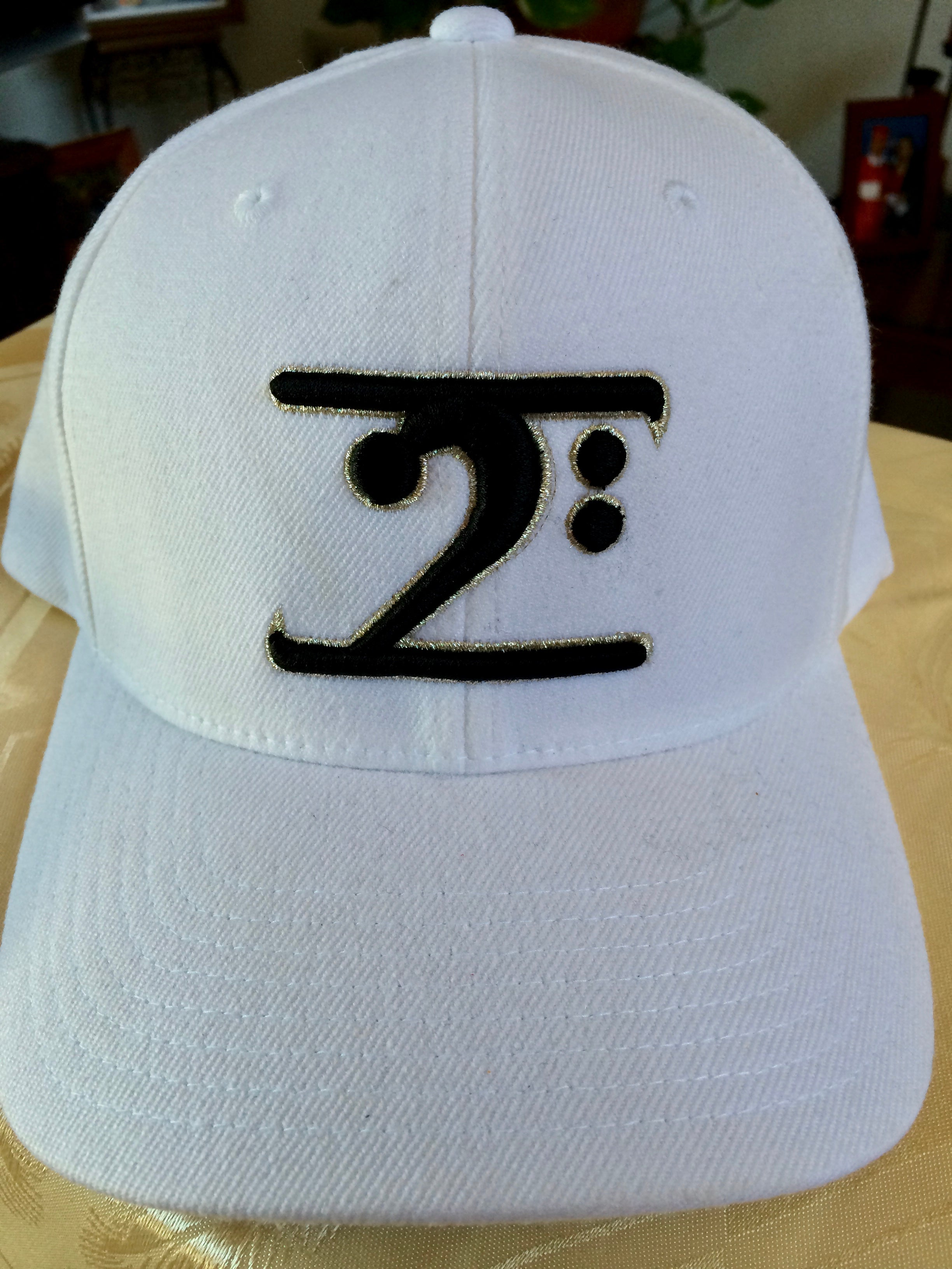 WHITE LOGO CAP - BLACK LOGO SILVER TRIM - Lathon Bass Wear