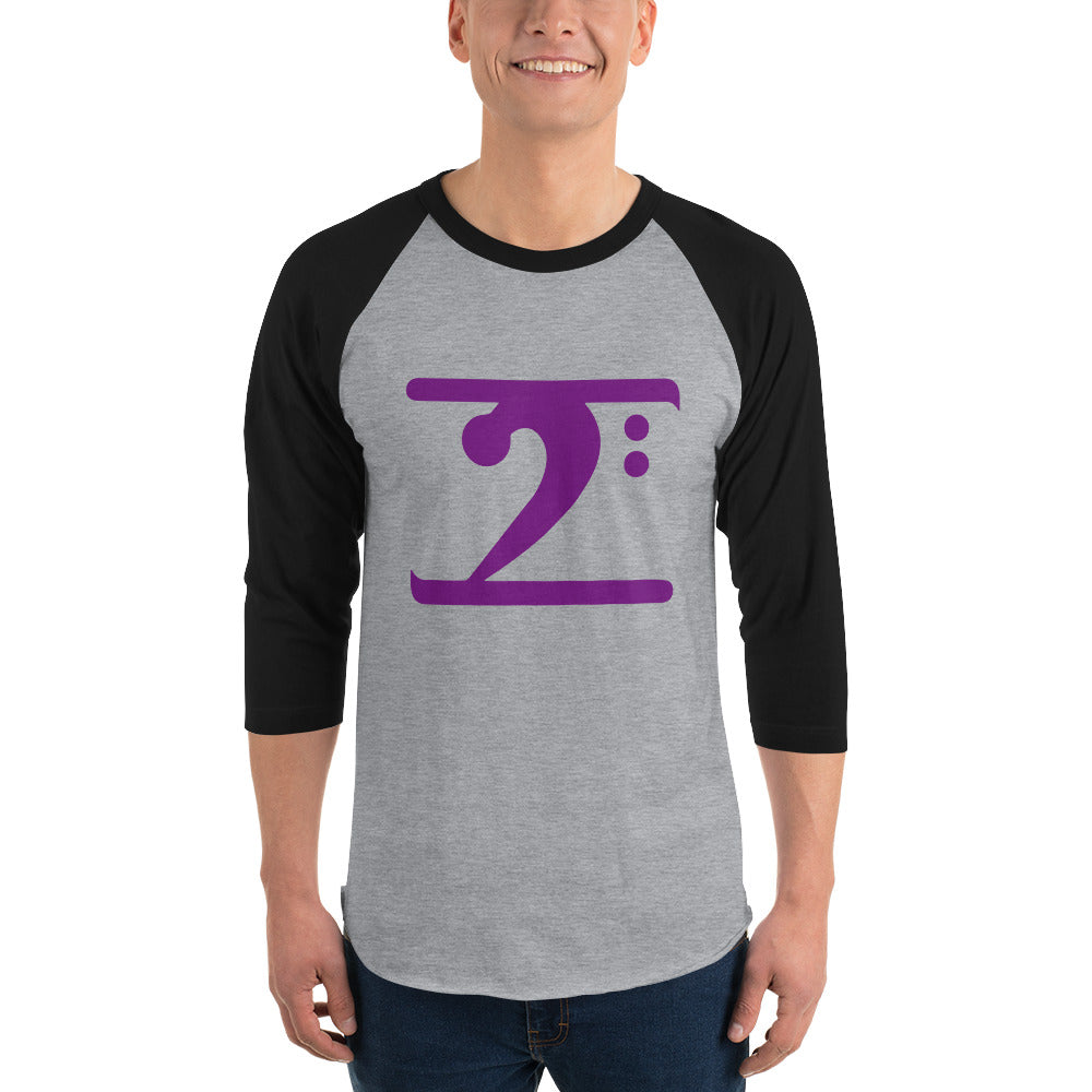 PURPLE LOGO 3/4 sleeve raglan shirt