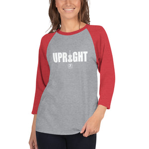 UPRIGHT - WHITE 3/4 sleeve raglan shirt