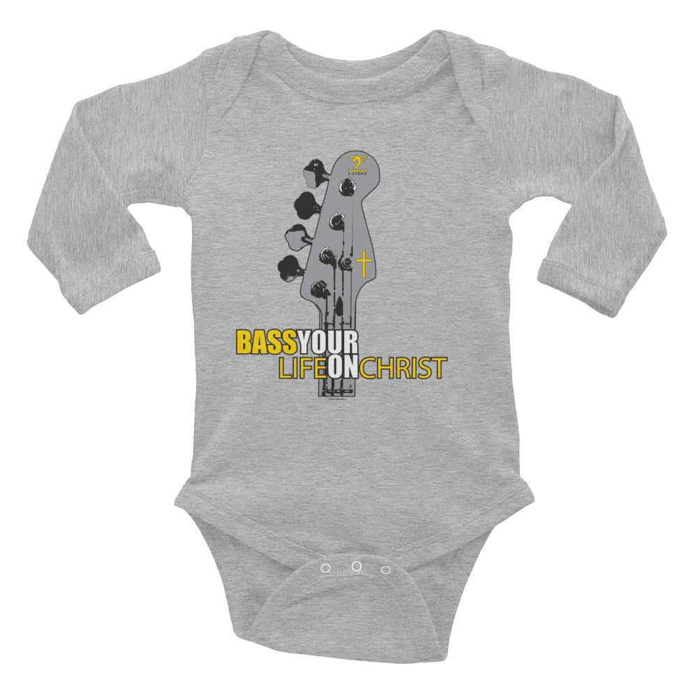 BASS YOUR LIFE ON CHRIST Infant Long Sleeve Bodysuit - Lathon Bass Wear