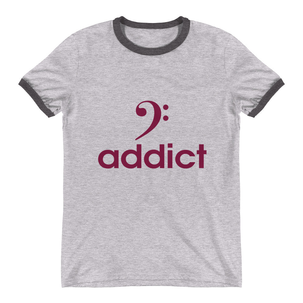 BASS ADDICT - MAROON Ringer T-Shirt - Lathon Bass Wear