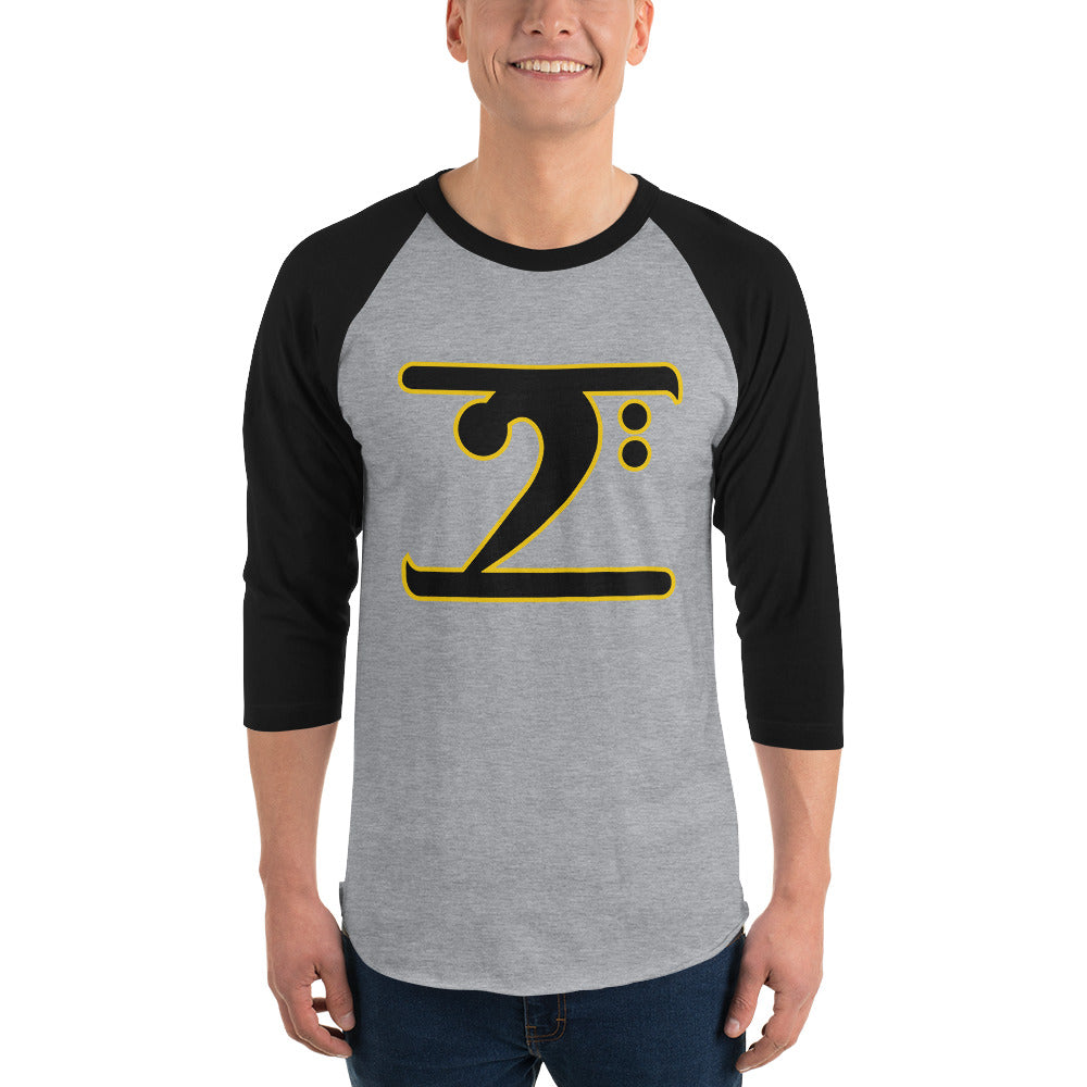 ICONIC LOGO - BLACK/GOLD 3/4 sleeve raglan shirt - Lathon Bass Wear
