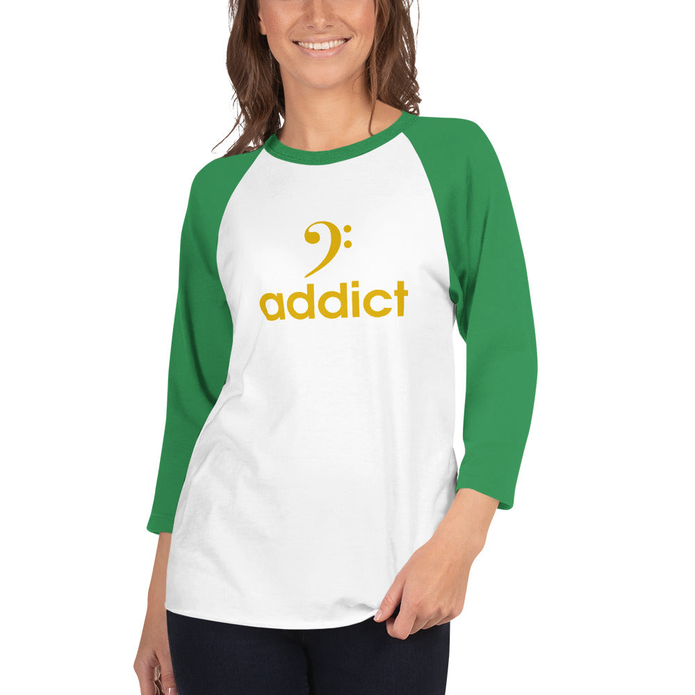 BASS ADDICT - GOLD 3/4 sleeve raglan shirt - Lathon Bass Wear