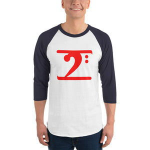 RED LOGO 3/4 sleeve raglan shirt