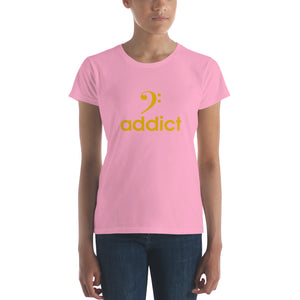 BASS ADDICT - GOLD Women's short sleeve t-shirt - Lathon Bass Wear