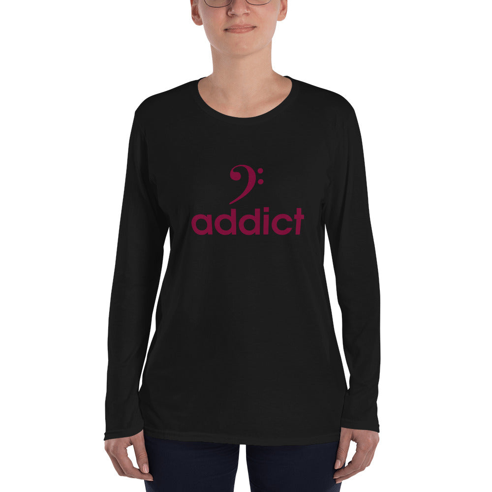 BASS ADDICT - MAROON Ladies' Long Sleeve T-Shirt - Lathon Bass Wear