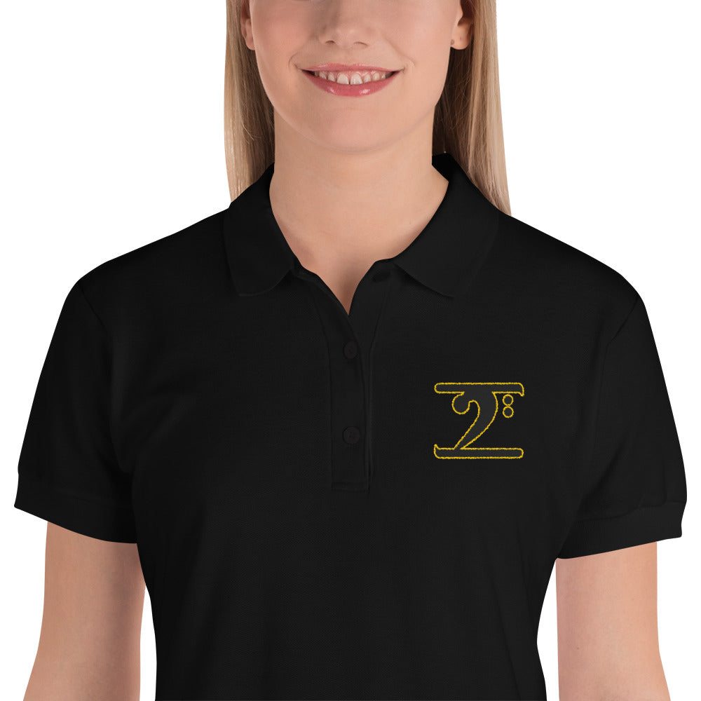 ICONIC LOGO BLACK/GOLD Embroidered Women's Polo Shirt