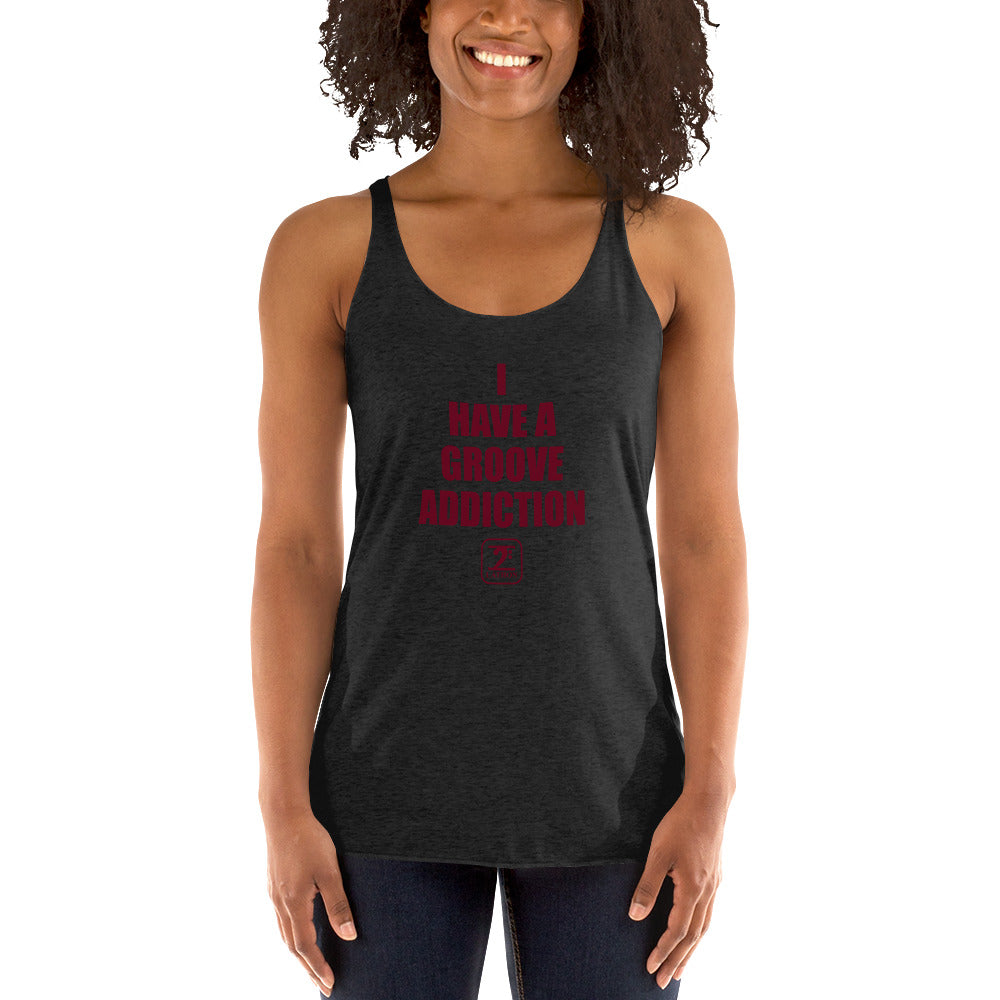 I HAVE GROOVE ADDICTION - MAROON Women's Racerback Tank - Lathon Bass Wear
