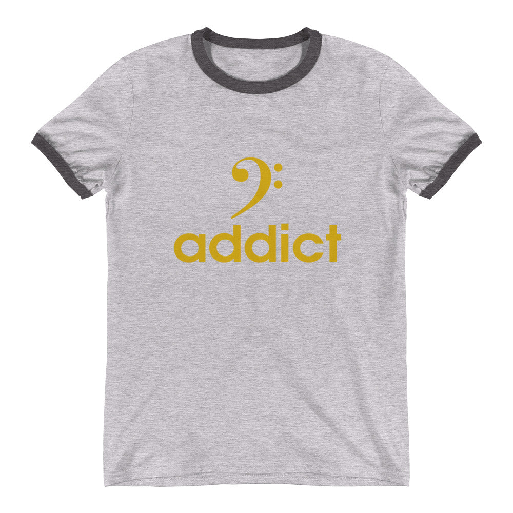 BASS ADDICT - GOLD Ringer T-Shirt - Lathon Bass Wear
