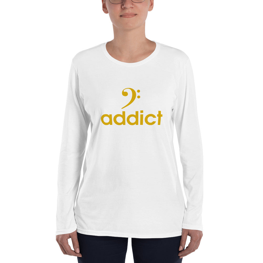 BASS ADDICT - GOLD Ladies' Long Sleeve T-Shirt - Lathon Bass Wear