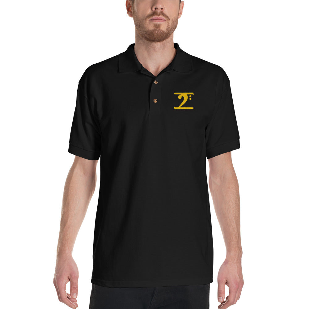 ICONIC LOGO - GOLD/BLACK Embroidered Polo Shirt