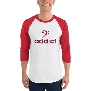 BASS ADDICT - MAROON 3/4 sleeve raglan shirt - Lathon Bass Wear