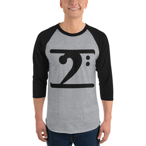 SOLID LOGO BLACK 3/4 sleeve raglan shirt - Lathon Bass Wear