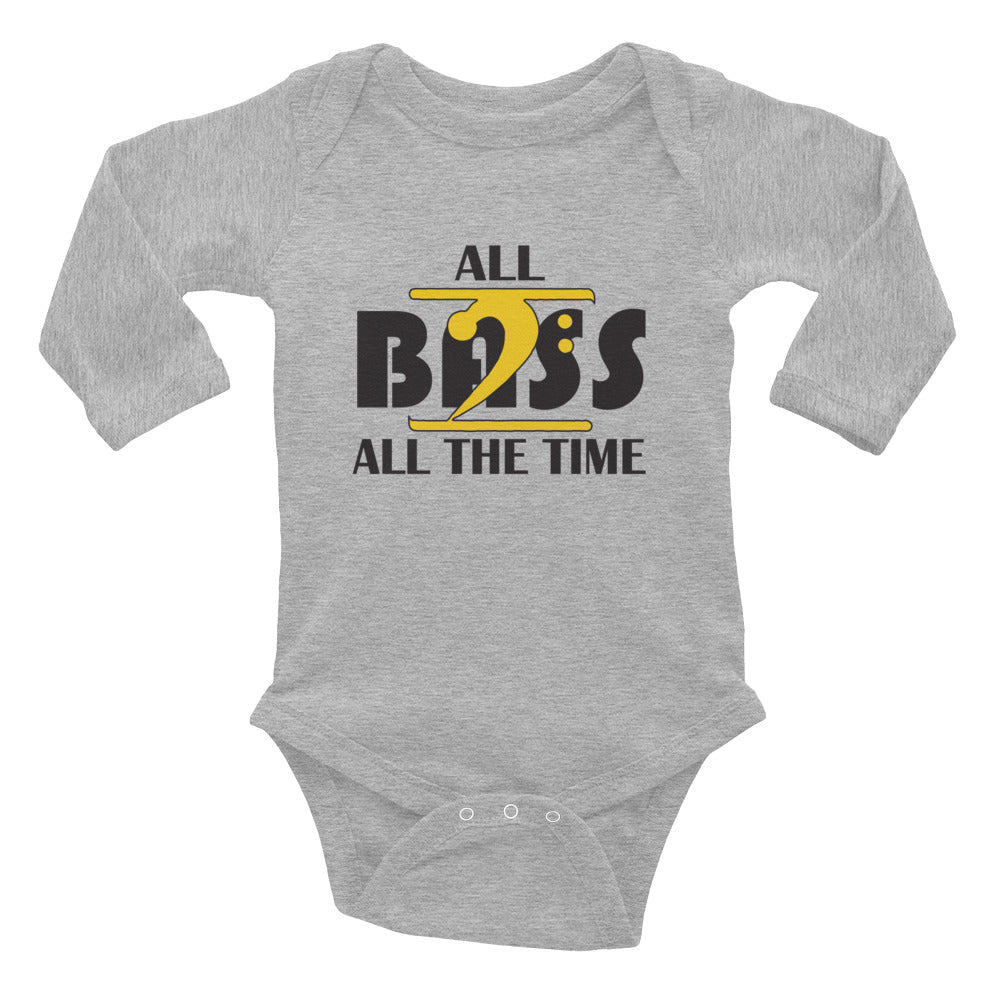 ALL BASS ALL THE TIME Infant Long Sleeve Bodysuit - Lathon Bass Wear