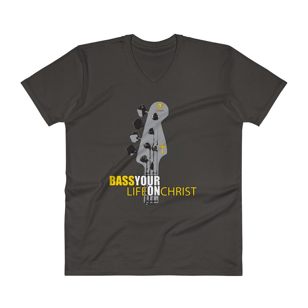 BASS YOUR LIFE ON CHRIST V-Neck T-Shirt - Lathon Bass Wear
